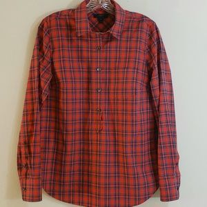 J. Crew Red Plaid Cotton Blouse, Sz 4